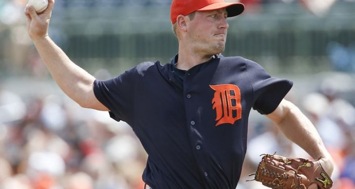 Detroit Tigers starting pitcher Jordan Zimmermann (27) throws a pitch during the first inning of a spring training baseball game against the Houston Astros at Osceola County Stadium. (Reinhold Matay, USA TODAY Sports)