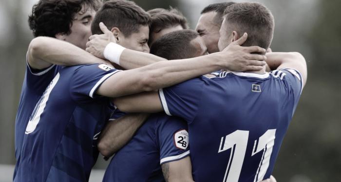 Celebración de los jugadores del Vetusta | Imagen: Real Oviedo