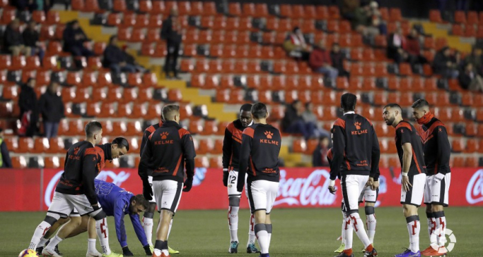 El Rayo Vallecano en sesión entrenamiento en el estadio de Vallecas. Fotografía: LA Liga
