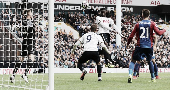 Wanyama nods in the game's only goal | Photo: Reuters