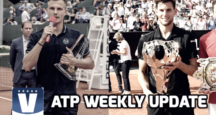 Marton Fucsovics (left) and Dominic Thiem were victorious last week on the European clay. Photos: Geneva Open/Lyon Open