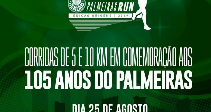 Para celebrar 105 anos do Palmeiras, torcedores vão participar de corrida de rua