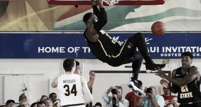 Shaq Morris of Wichita State dunks during the Shockers victory in Maui/Photo: Brian Spurlock/USA Today Sports