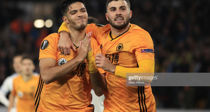 WOLVERHAMPTON, ENGLAND - NOVEMBER 07: Raul Jimenez of Wolverhampton Wanderers celebrates scoring his goal with Patrick Cutrone during the UEFA Europa League group K match between Wolverhampton Wanderers and Slovan Bratislava at Molineux on November 7, 2019 in Wolverhampton, United Kingdom. (Photo by Marc Atkins/Getty Images)