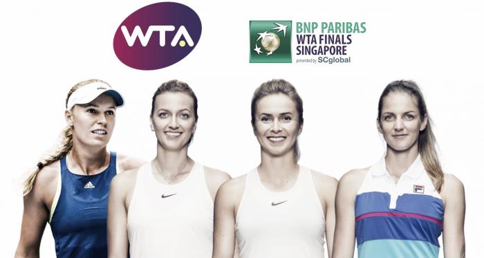 The White Group of the 2018 WTA Finals — Wozniacki, Kvitova, Svitolina, Pliskova