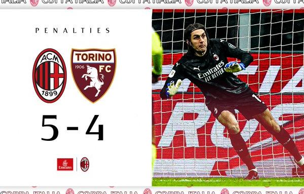 Il Milan vince ai rigori contro il Torino e vola ai quarti di Coppa Italia