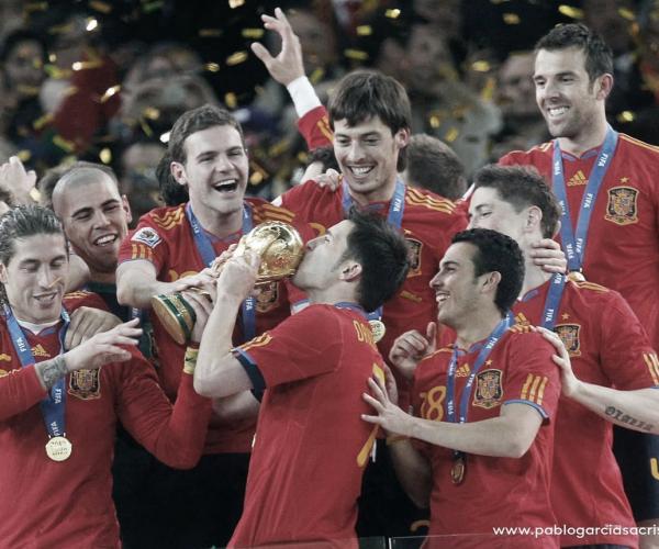 Los cuatro valencianistas campeones del mundo con España