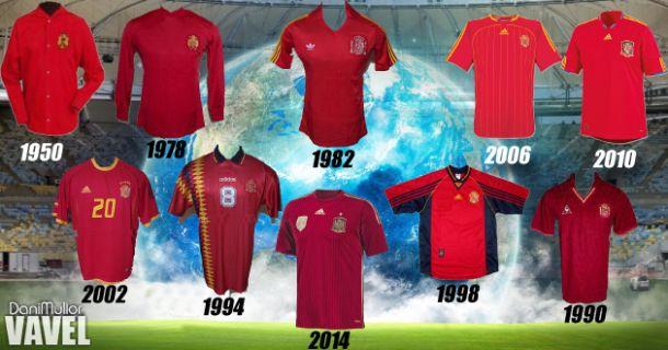 Historia de la camiseta de la selección española en la Copa del Mundo