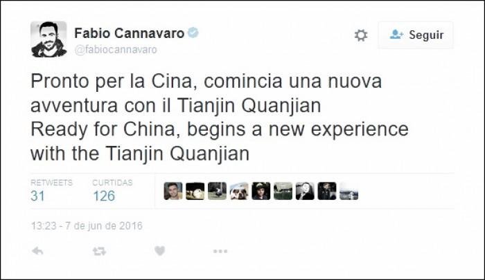 Fabio Cannavaro é o novo treinador do Tianjin Quanjian