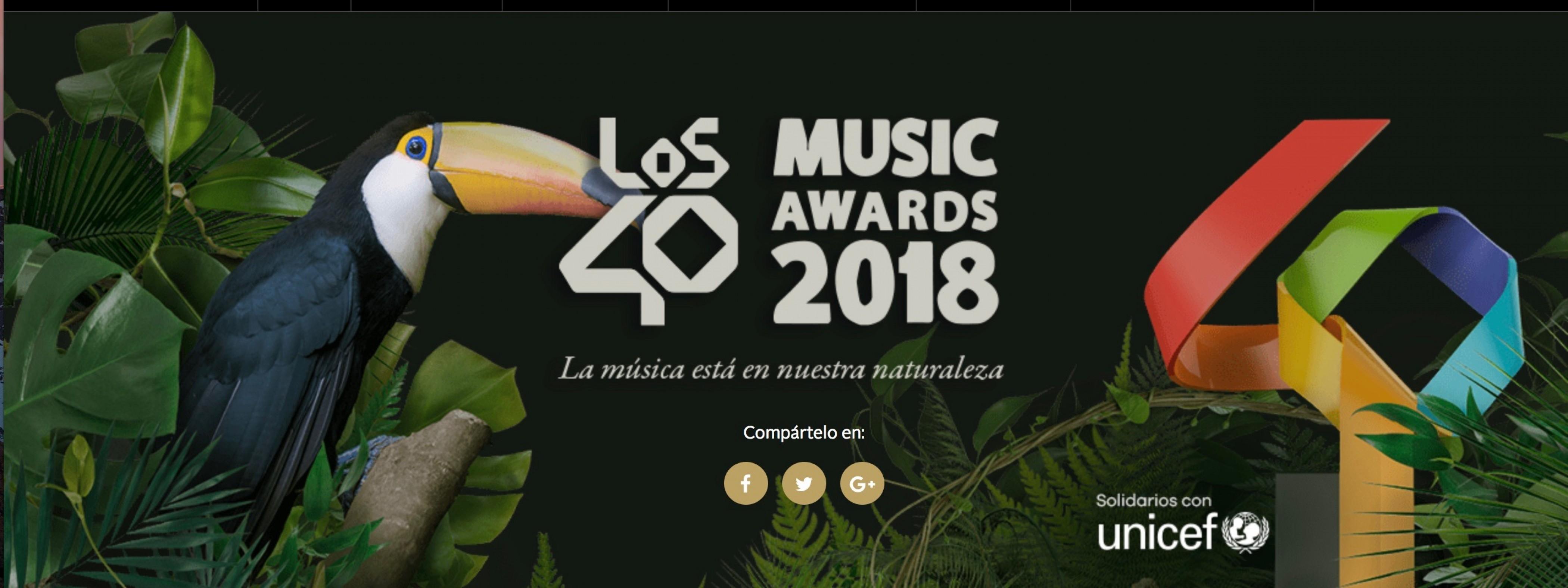 Nominados a Los 40 Music Awards 2018