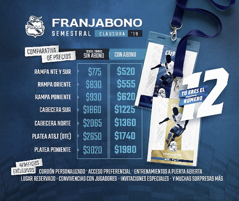 Puebla anuncia el Franjabono para el Clausura 2019