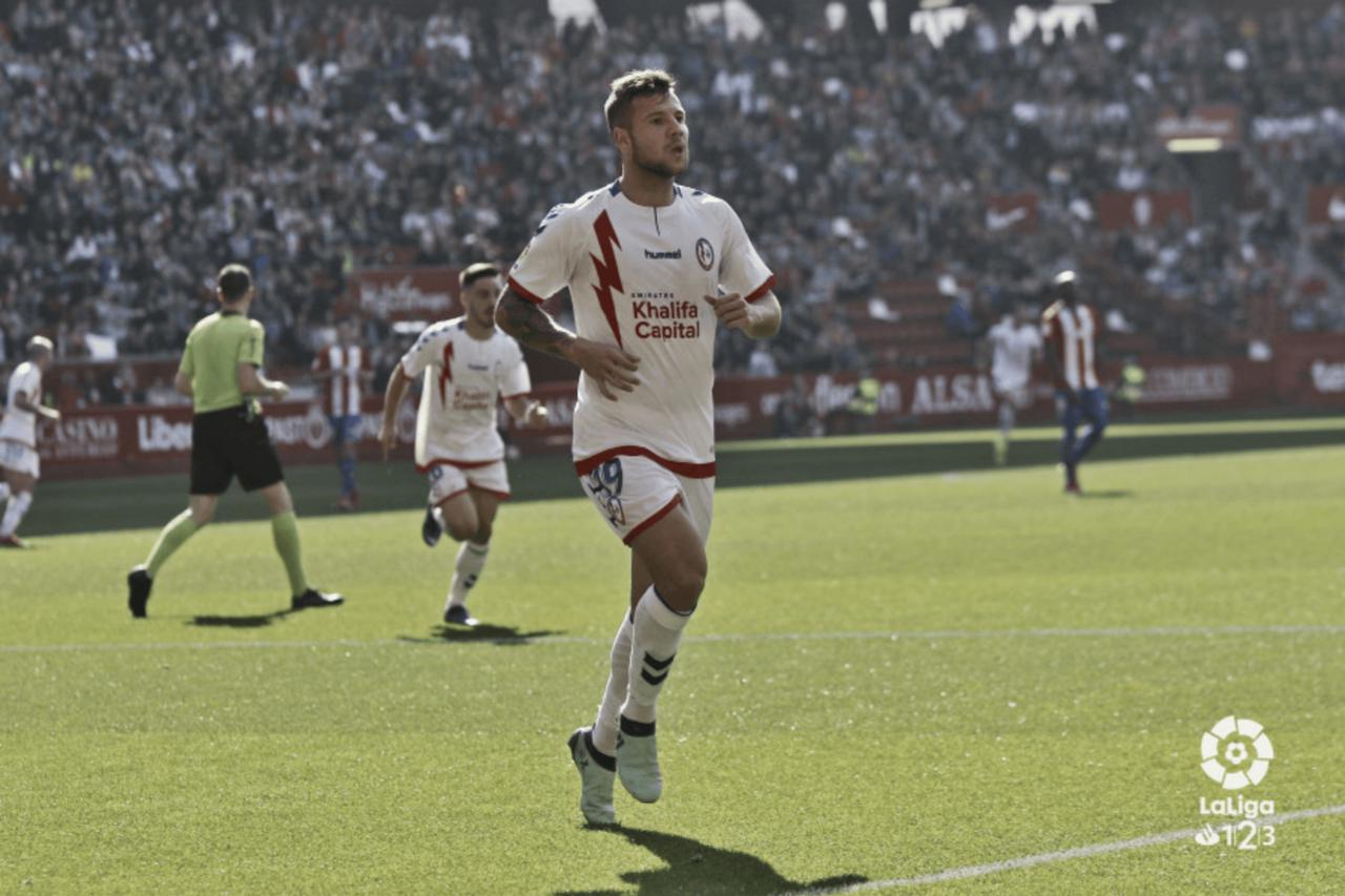 """Aitor Ruibal, tras el doblete contra el Real Sporting: """"Necesitábamos una victoria así, fuera de casa, y más en un campo como El Molinón"""""""