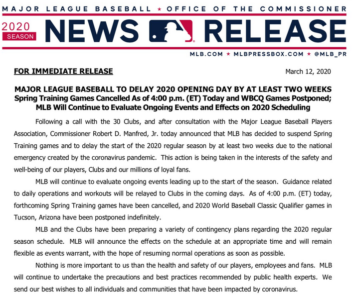Coronavirus Pushes MLB Back at Least Two Weeks