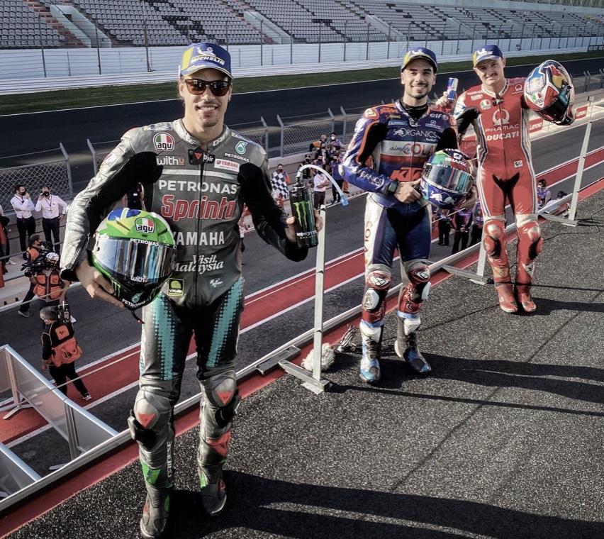 """El podio de MotoGP, al habla. Oliveira: """"Podría haber dado más"""""""