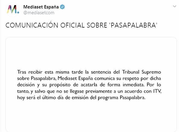 'Pasapalabra' se despide de las tardes de Telecinco