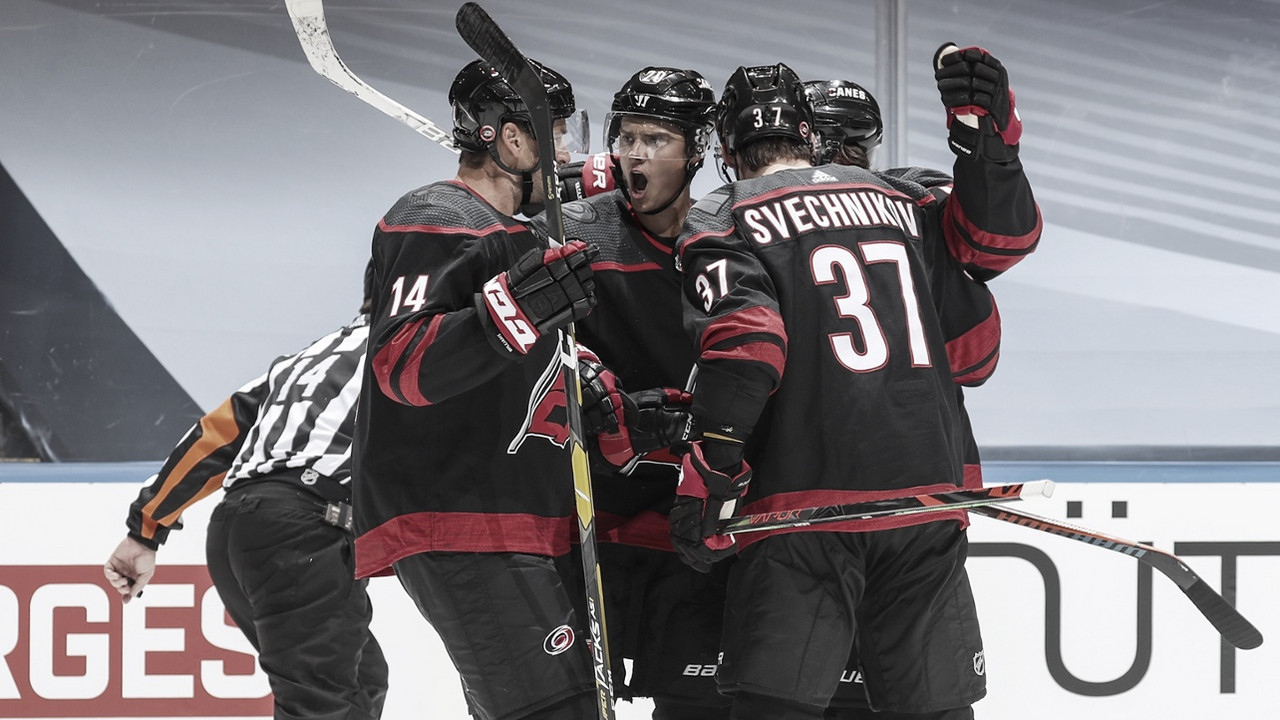 The Carolina Hurricanes celebrate a goal during the NHL Playoff Bubble in Toronto, Ontario. | PHOTO: Carolina Hurricanes