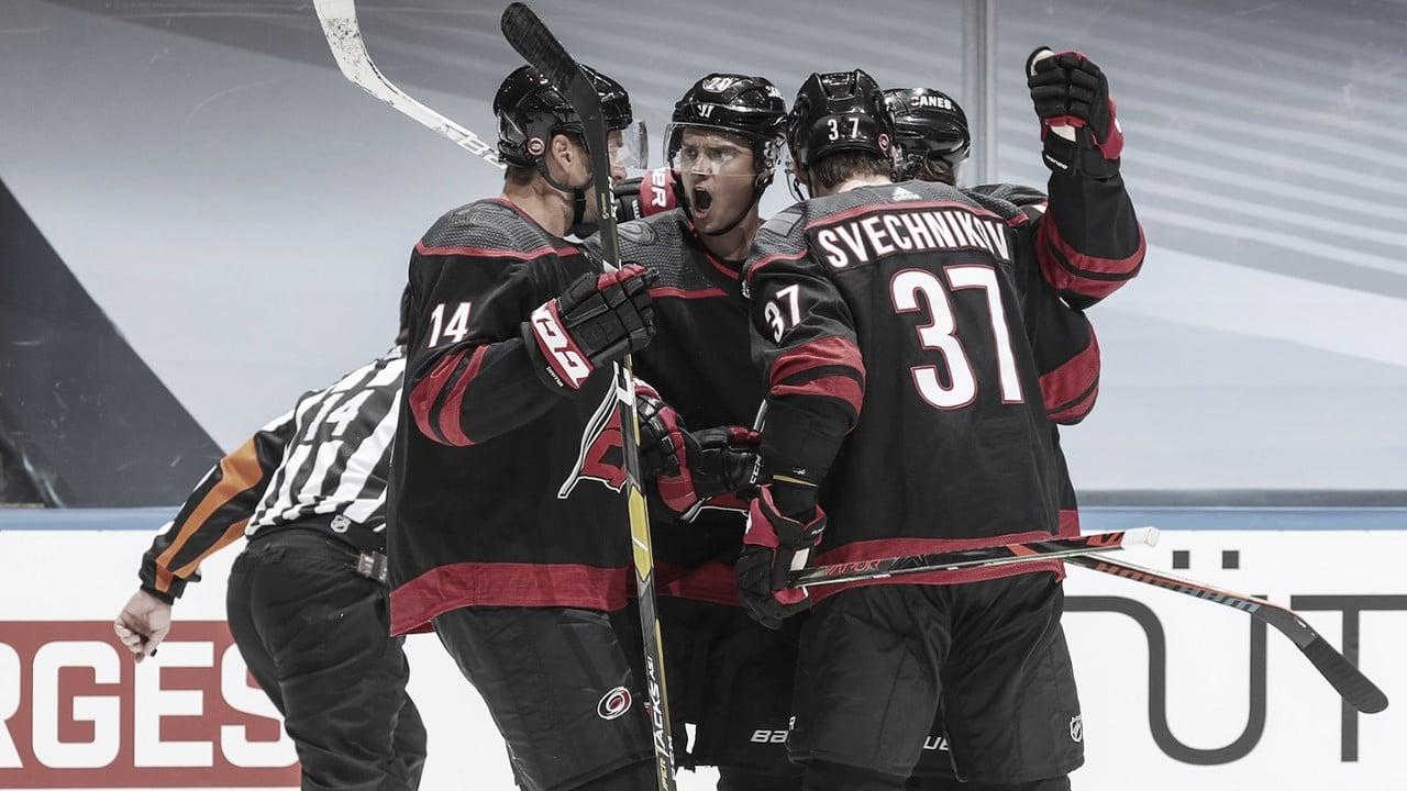 The Carolina Hurricanes celebrate a goal during the NHL Playoff Bubble in Toronto, Ontario. | PHOTO: Carolina Hurricanes