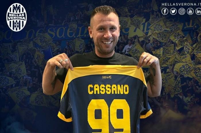 Verona, ufficiale anche l'arrivo di Cassano. Maglia numero 99 per lui