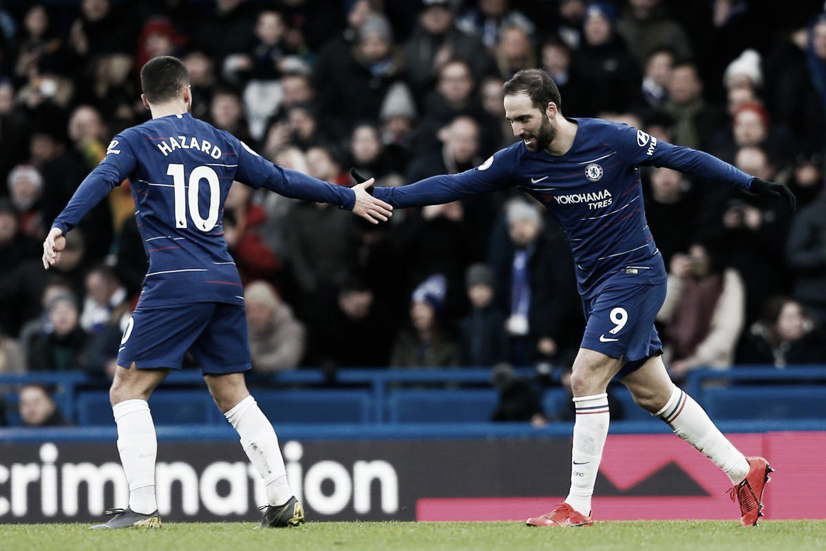 Higuaín marca dois, e Chelsea se recupera na Premier League com goleada contra Huddersfield
