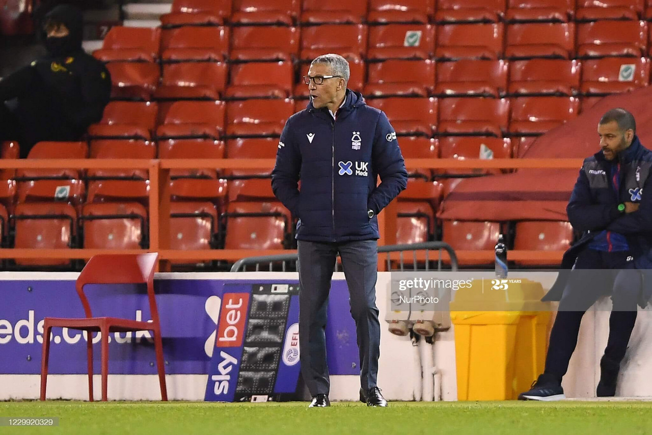 Nottingham Forest manager, Chris Hughton during the Sky Bet Championship match between Nottingham Forest and Watford at the City Ground, Nottingham on Wednesday 2nd December 2020. (Photo by Jon Hobley/MI News/NurPhoto via Getty Images).
