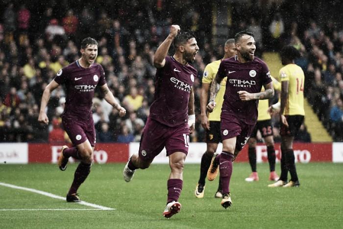 Agüero dá show, destroça Watford, e City constróiterceira goleada consecutiva