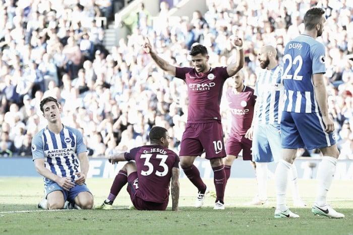 Agüero marca, Jesus tem dois anulados e City vence Brighton fora de casa