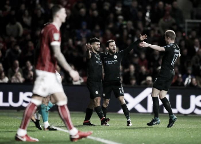Manchester City toma susto, mas supera valente Bristol City e vai à final da Copa da Liga