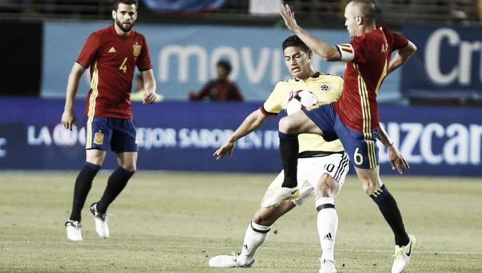 En partido amistoso, Colombia igualó 2-2 ante España