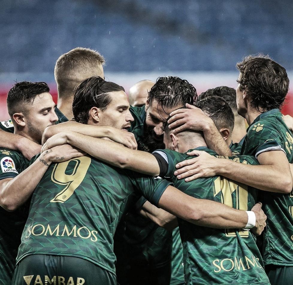 Los oscenses en plena celebración de gol FUENTE: INSTAGRAM: @sdhuesca