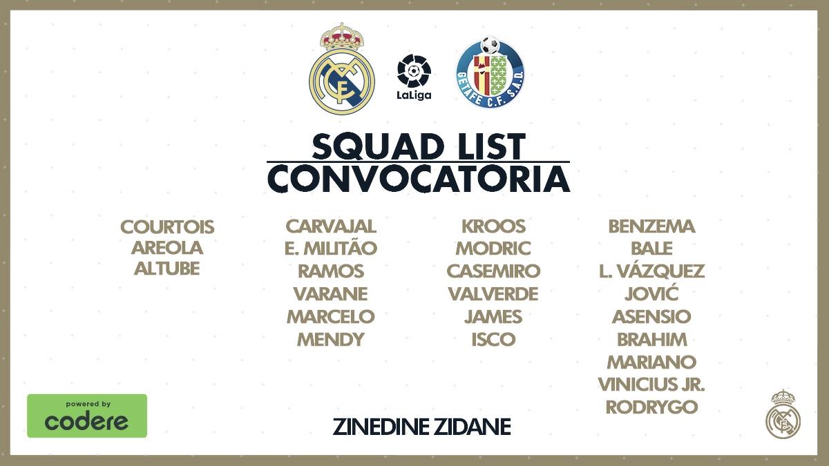 Convocatoria del Real Madrid para el partido contra el Getafe