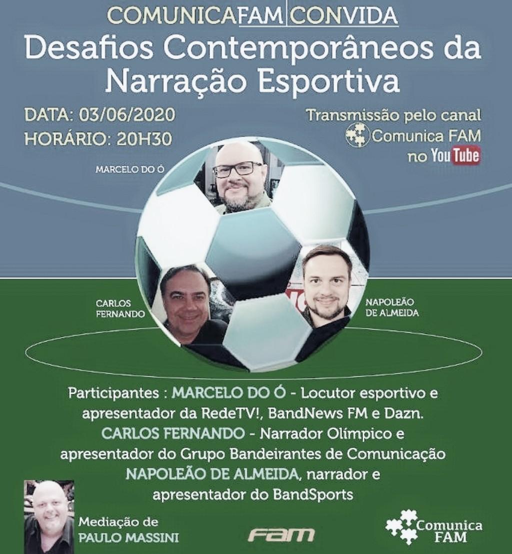 ComunicaFAM promove live sobre narração esportiva