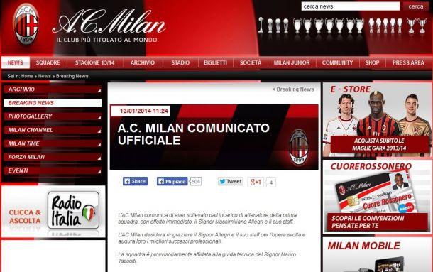 Esonerato Allegri, il Milan a Tassotti