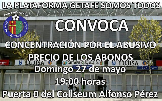 """Concentración contra el """"abusivo precio de los abonos"""" en Getafe"""