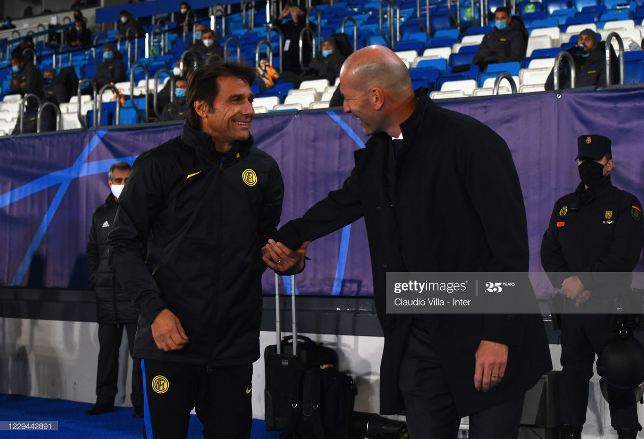 <div>Real Madrid v FC Internazionale: Group B - UEFA Champions League</div><div>MADRID, SPAIN - NOVEMBER 03: Head Coach of FC Internazionale Antonio Conte shakes hands with head coach of Real Madrid Zinédine Zidane before the UEFA Champions League Group B stage match between Real Madrid and FC Internazionale at Estadio Santiago Bernabeu on November 3, 2020 in Madrid, Spain. (Photo by Claudio Villa - Inter/Inter via Getty Images)</div>