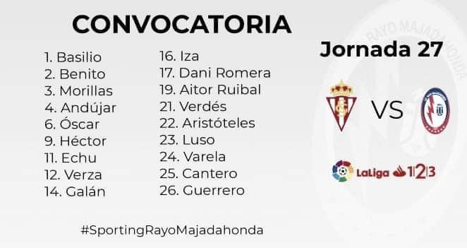 Los convocados del Rayo Majadahonda para viajar a Gijón