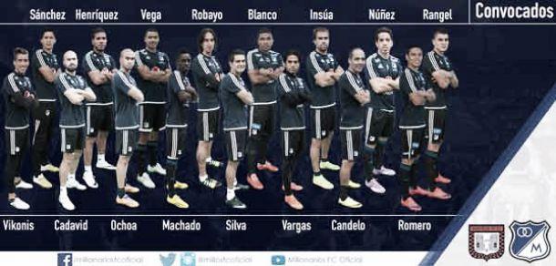 Lista de concentrados de Millonarios frente a Boyacá Chicó