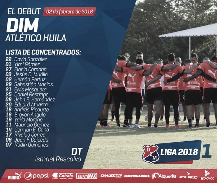 Lista de convocados del DIM para su debut en la Liga Águila