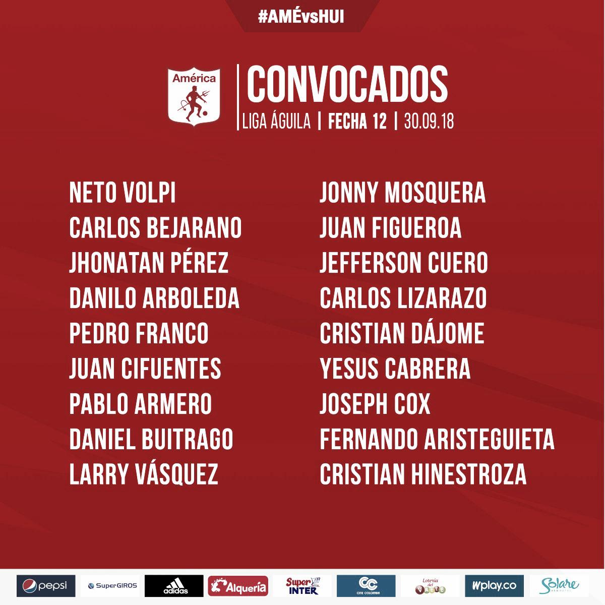 Con Daniel Buitrago como novedad, América recibe al Atlético Huila