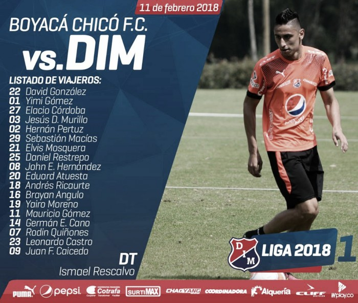 Los convocados del DIM para visitar al Chicó