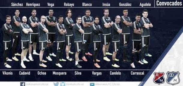 Lista de convocados de Millonarios para visitar a Medellín