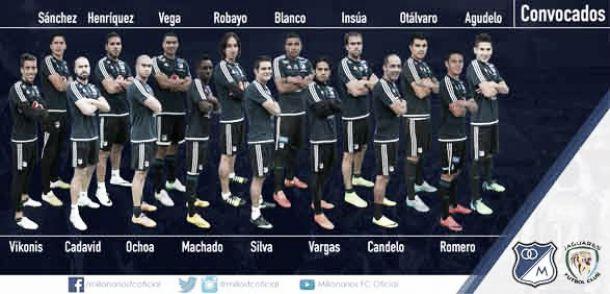 Lista de convocados de Millonarios para recibir a Jaguares