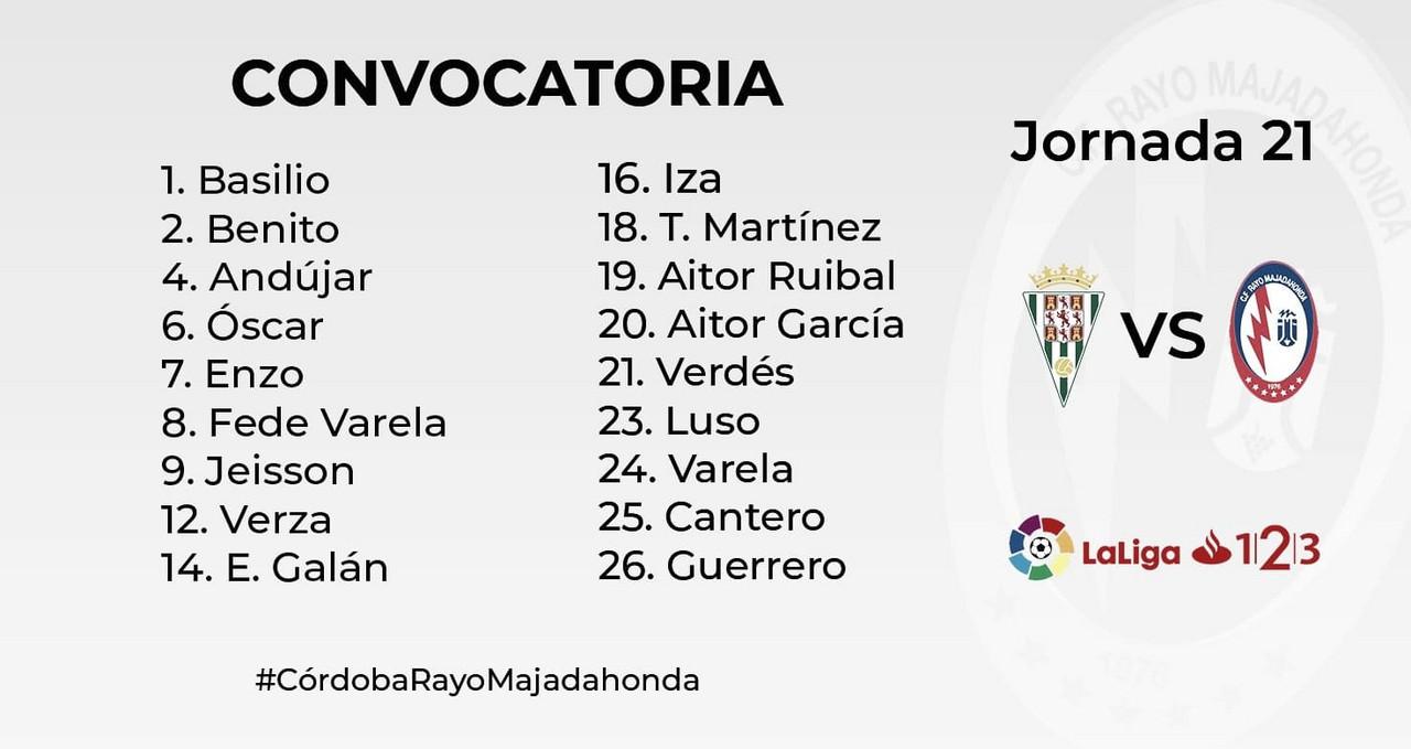 Los convocados del Rayo Majadahonda para viajar a Córdoba