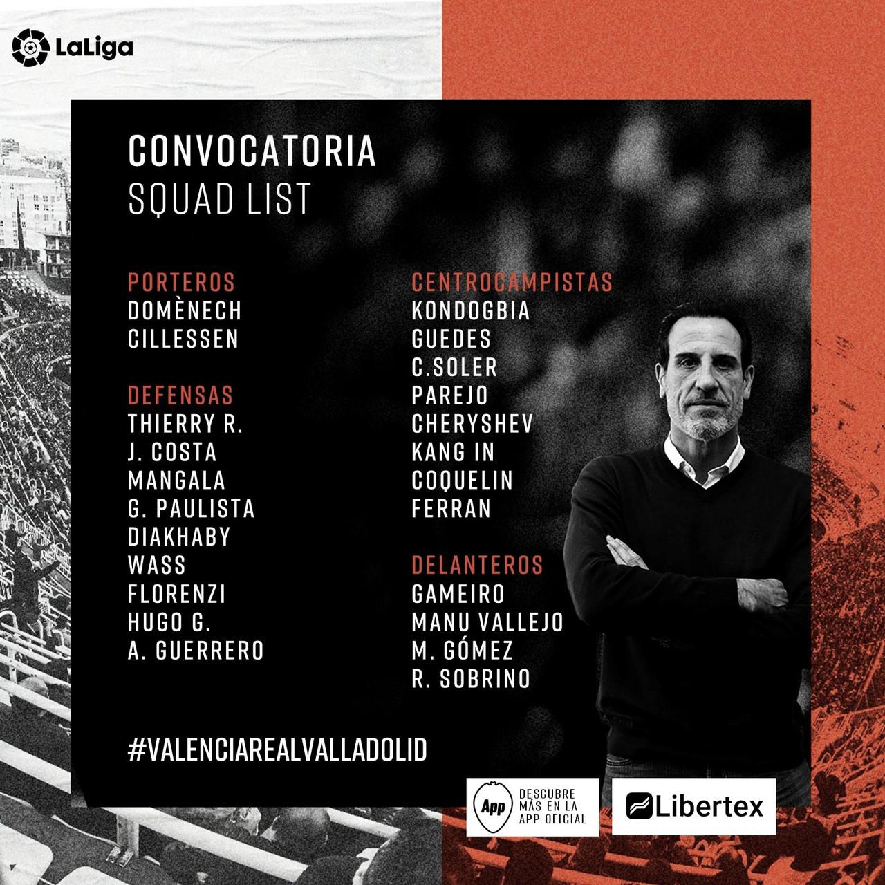 Convocatoria del Valencia CF frente al Real Valladolid CF