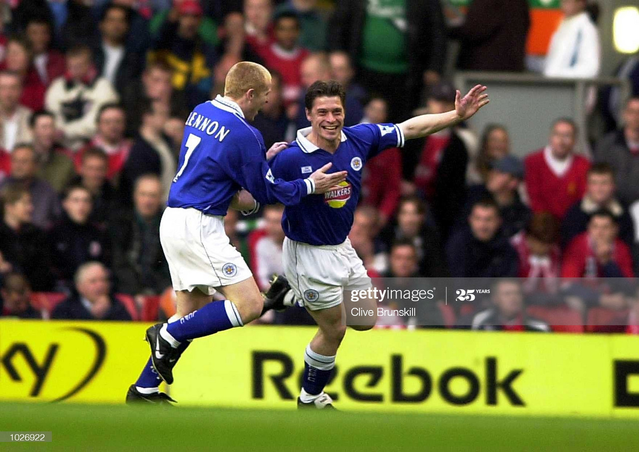 Tony Cottee of Leicester celebrates with Neil Lennon after scoring the first goal during the Liverpool v Leicester City FA Carling Premiership match at Anfield, Liverpool. Credit: Clive Brunskill/ALLSPORT