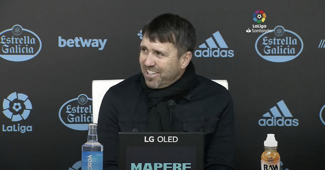 Coudet, en la rueda de prensa posterior al RC Celta de Vigo - SD Huesca (2-1) | Foto: LaLiga