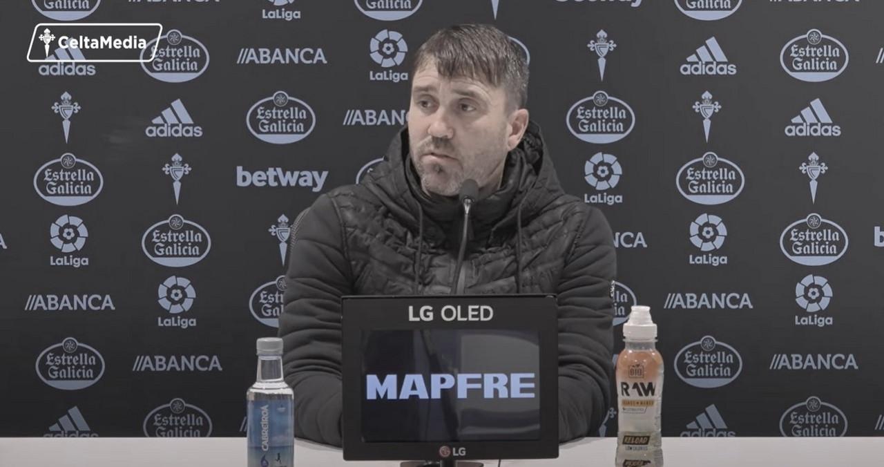 Coudet, en la rueda de prensa previa al RC Celta de Vigo - SD Eibar (23/01/2021) | Foto: CeltaMedia