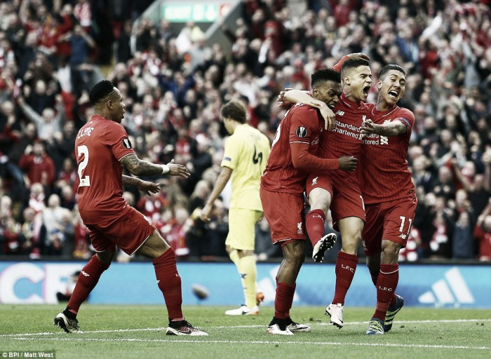 Liverpool (3) 3-0 (1) Villarreal: Anfield crowd roars Reds into Europa League final