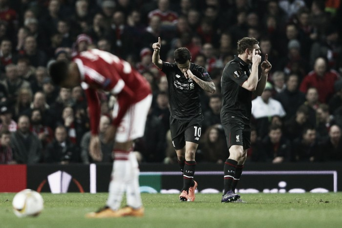 Manchester United (1) 1-1 (3) Liverpool: Coutinho away strike sends Red Devils crashing out