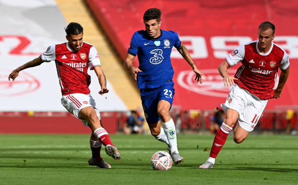 Christian Pulisic of Chelsea runs with the ball during the Heads Up FA Cup Final match between Arsenal and Chelsea at Wembley Stadium on August 01, 2020 in London, England. (Photo by Darren Walsh/Chelsea FC via Getty Images)