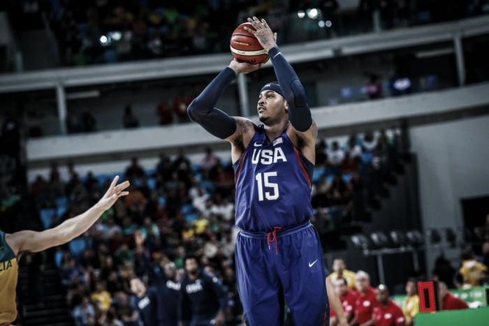 Estados Unidos passa sufoco, mas bate Austrália em noite inspirada de Carmelo Anthony